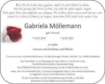 Traueranzeige von Gabriela Möllemann von Rheinische Post