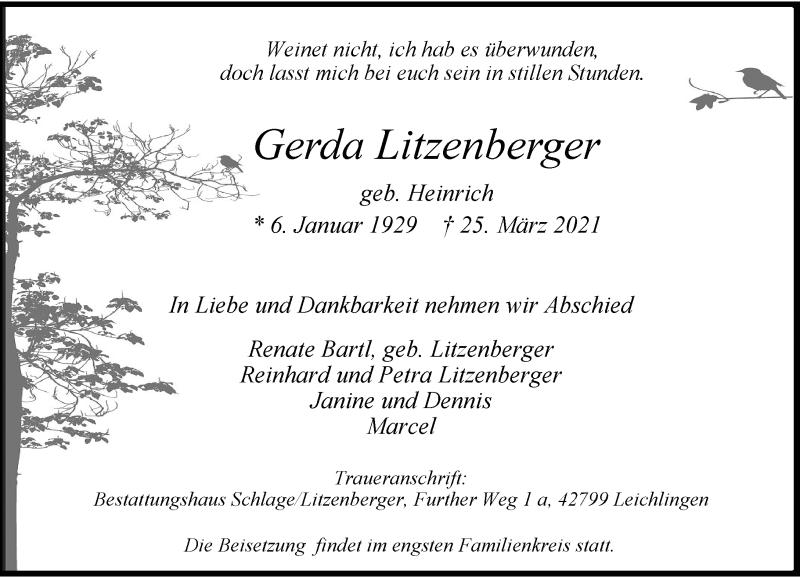 Traueranzeige für Gerda Litzenberger vom 31.03.2021 aus Rheinische Post