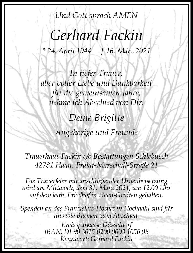 Traueranzeige für Gerhard Fackin vom 20.03.2021 aus Rheinische Post