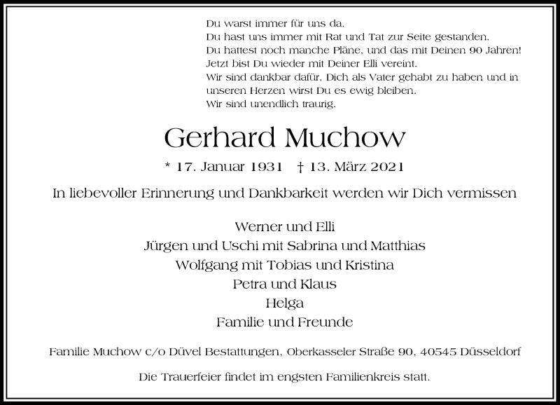 Traueranzeige für Gerhard Muchow vom 27.03.2021 aus Rheinische Post