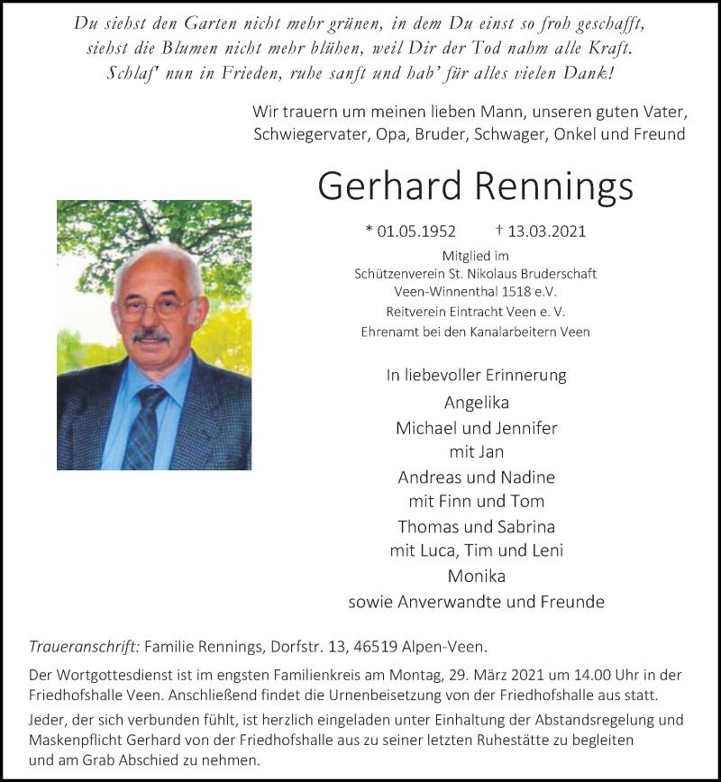 Traueranzeige für Gerhard Rennings vom 20.03.2021 aus Rheinische Post