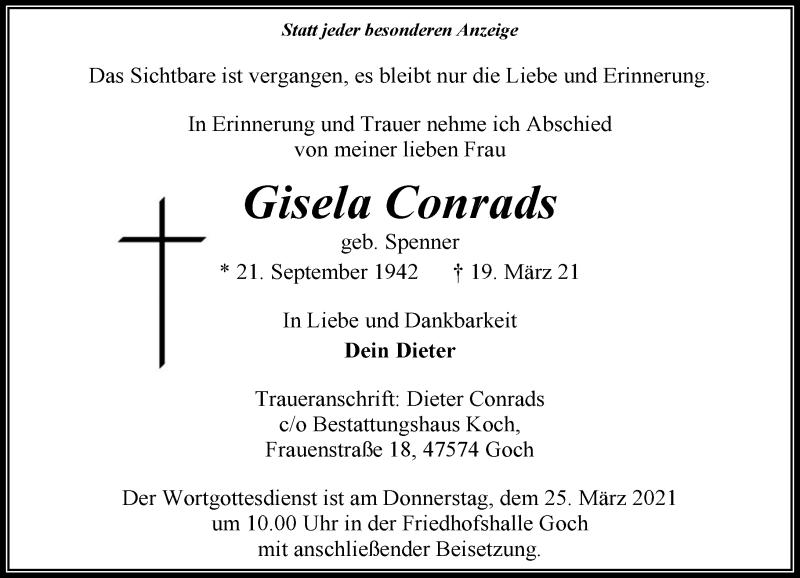 Traueranzeige für Gisela Conrads vom 24.03.2021 aus Rheinische Post