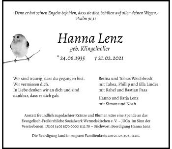 Traueranzeige von Hanna Lenz von Rheinische Post