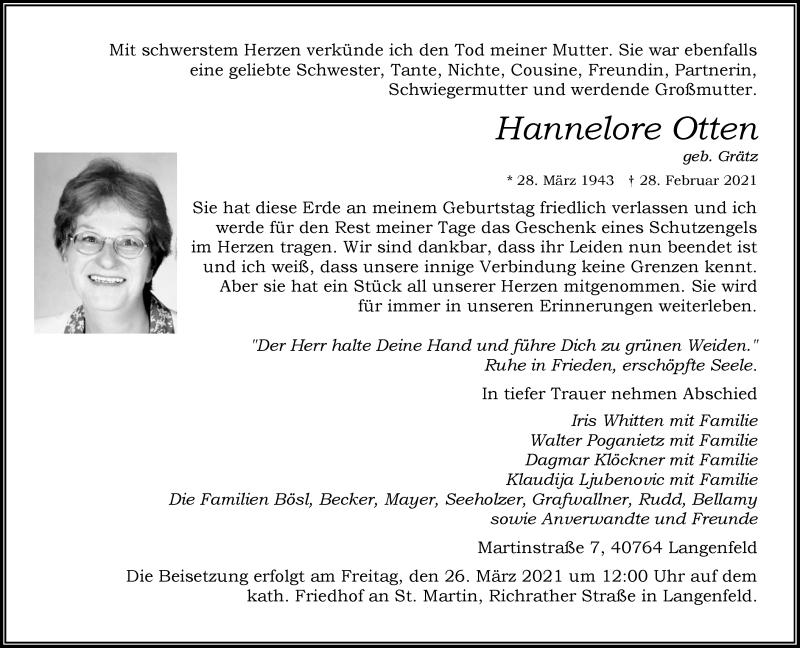 Traueranzeige für Hannelore Otten vom 20.03.2021 aus Rheinische Post