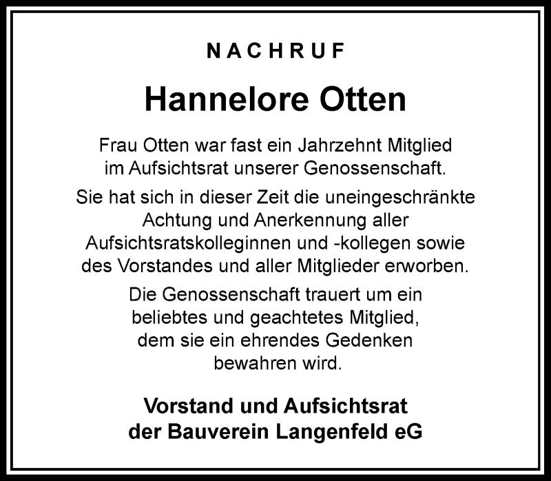 Traueranzeige für Hannelore Otten vom 27.03.2021 aus Rheinische Post