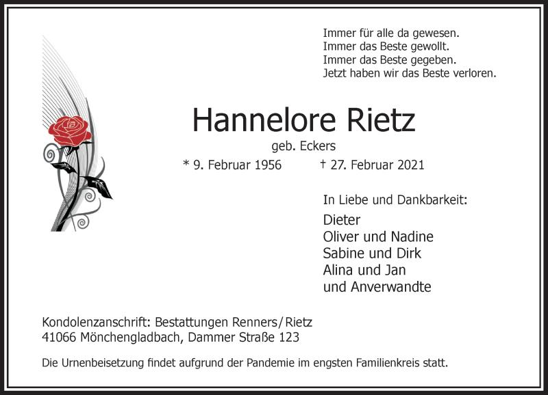 Traueranzeige für Hannelore Rietz vom 06.03.2021 aus Rheinische Post