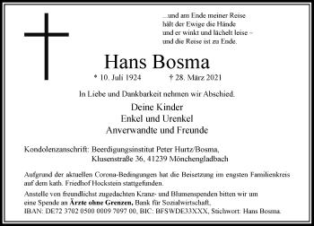 Traueranzeige von Hans Bosma von Rheinische Post