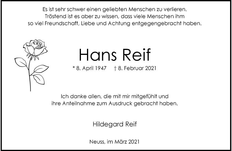 Traueranzeige für Hans Reif vom 20.03.2021 aus Rheinische Post