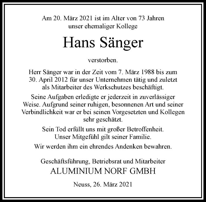 Traueranzeige für Hans Sänger vom 26.03.2021 aus Rheinische Post