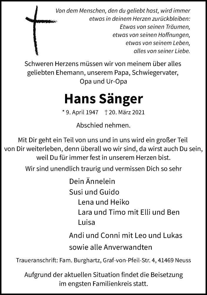 Traueranzeige für Hans Sänger vom 27.03.2021 aus Rheinische Post