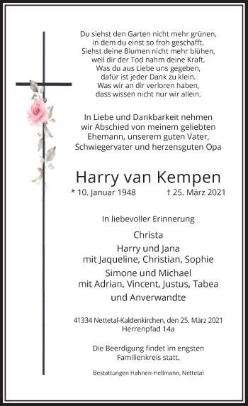 Traueranzeige von Harry van Kempen von Rheinische Post
