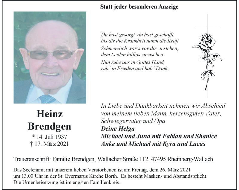 Traueranzeige für Heinz Brendgen vom 20.03.2021 aus Rheinische Post