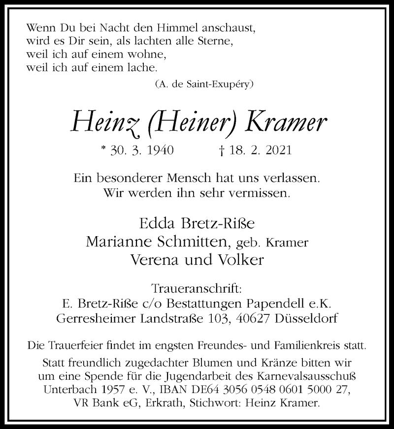 Traueranzeige für Heinz Kramer vom 03.03.2021 aus Rheinische Post