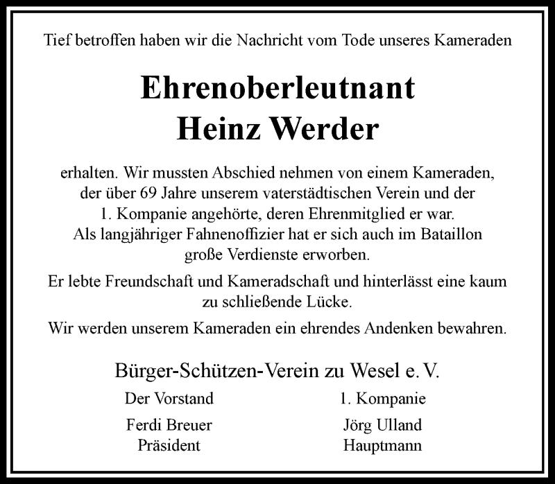 Traueranzeige für Heinz Werder vom 24.03.2021 aus Rheinische Post