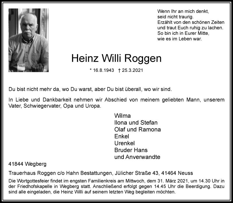 Traueranzeige für Heinz Willi Roggen vom 30.03.2021 aus Rheinische Post