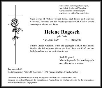 Traueranzeige von Helene Rogosch von Rheinische Post