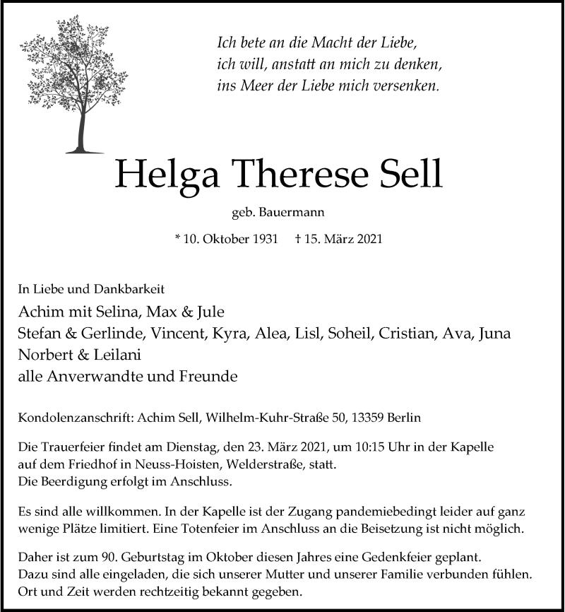 Traueranzeige für Helga Therese Sell vom 20.03.2021 aus Rheinische Post