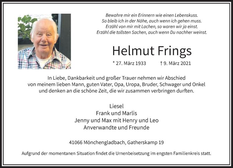 Traueranzeige für Helmut Frings vom 13.03.2021 aus Rheinische Post