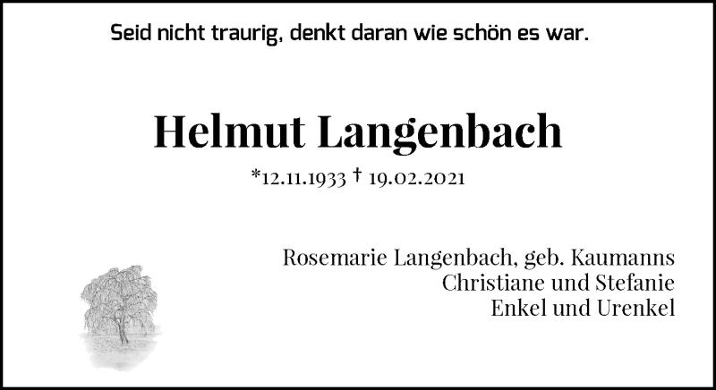 Traueranzeige für Helmut Langenbach vom 01.03.2021 aus Rheinische Post