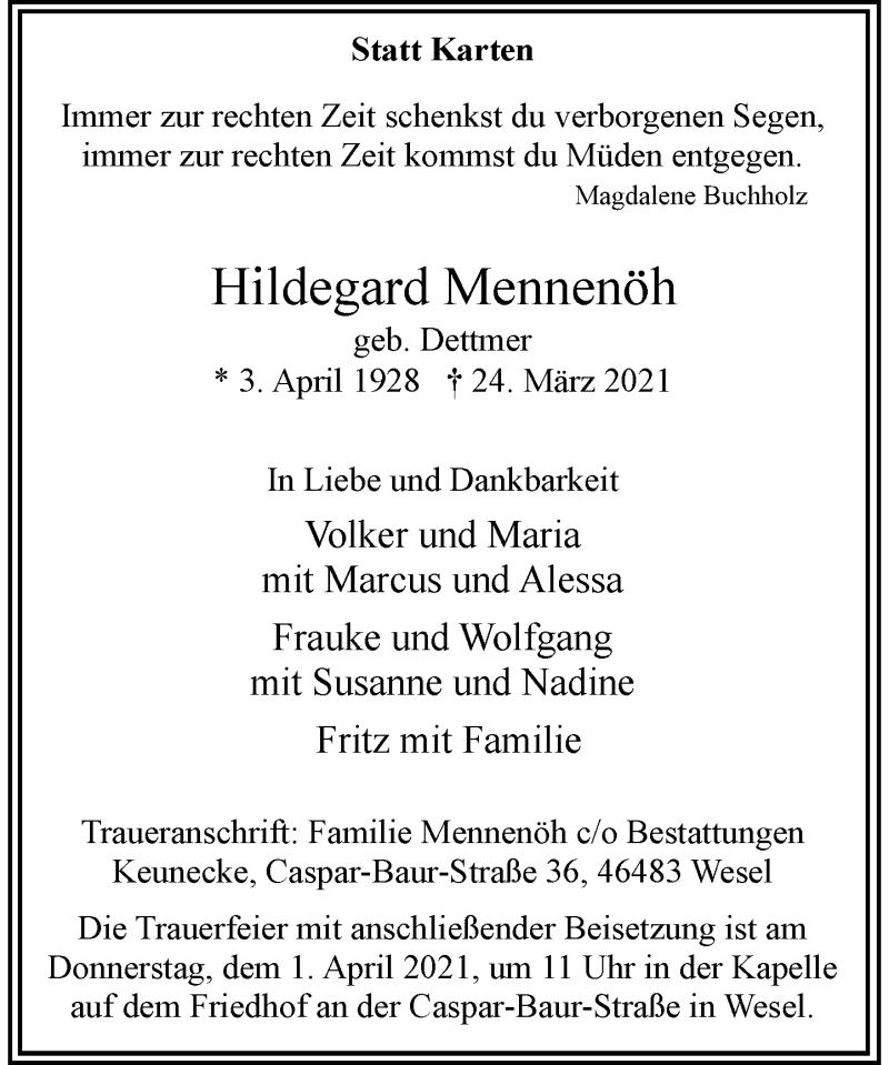Traueranzeige für Hildegard Mennenöh vom 27.03.2021 aus Rheinische Post