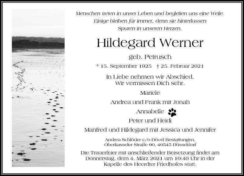 Traueranzeige für Hildegard Werner vom 01.03.2021 aus Rheinische Post