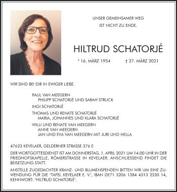 Traueranzeige von Hiltrud Schatorje von Rheinische Post