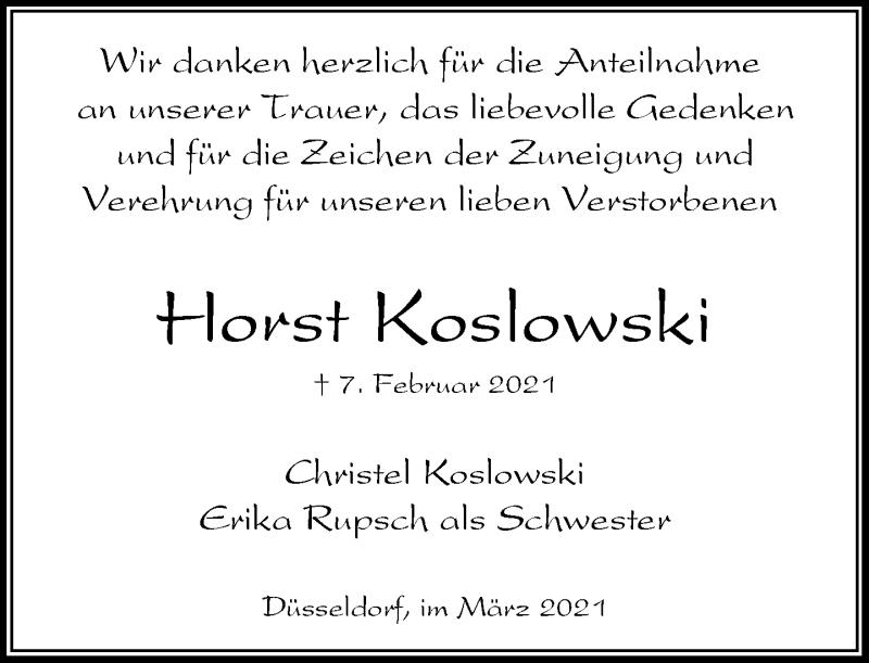 Traueranzeige für Horst Koslowski vom 13.03.2021 aus Rheinische Post