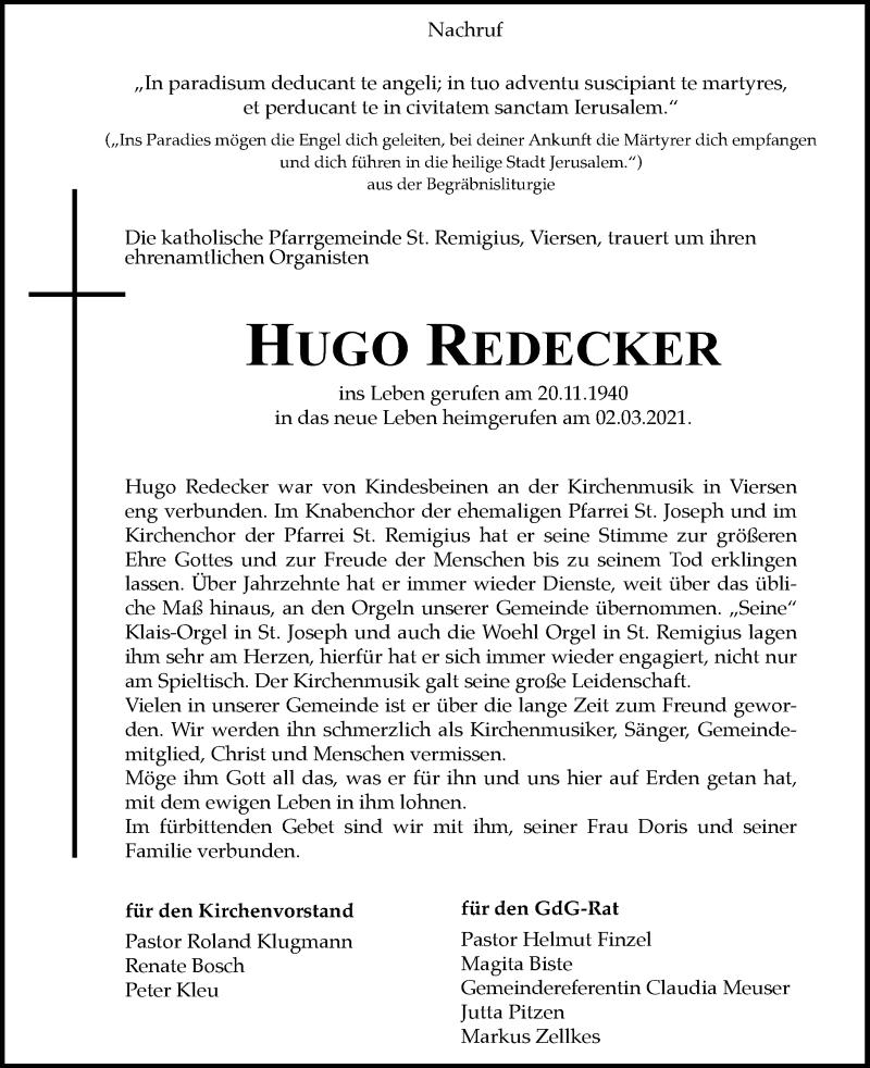 Traueranzeige für Hugo Redecker vom 06.03.2021 aus Rheinische Post