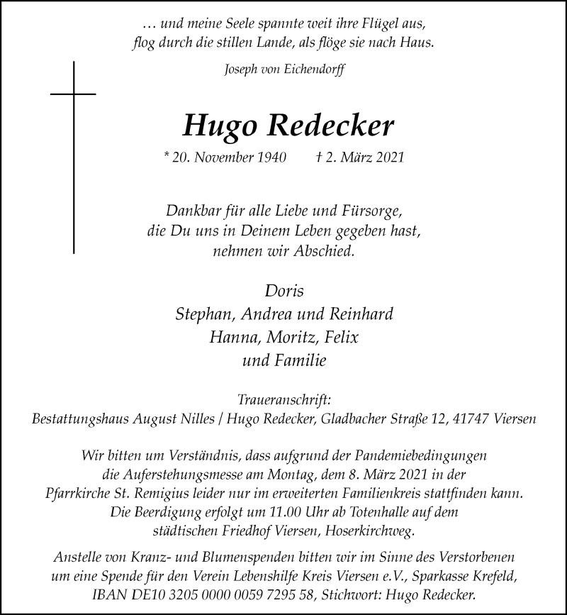Traueranzeige für Hugo Redecker vom 05.03.2021 aus Rheinische Post