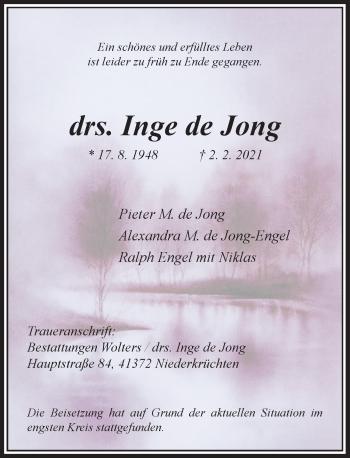 Traueranzeige von Inge de Jong von Rheinische Post