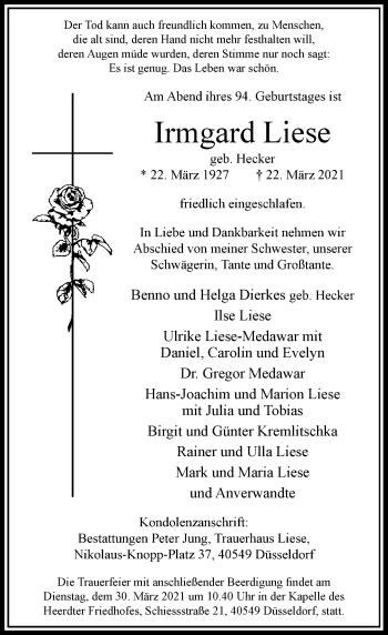 Traueranzeige von Irmgard Liese von Rheinische Post