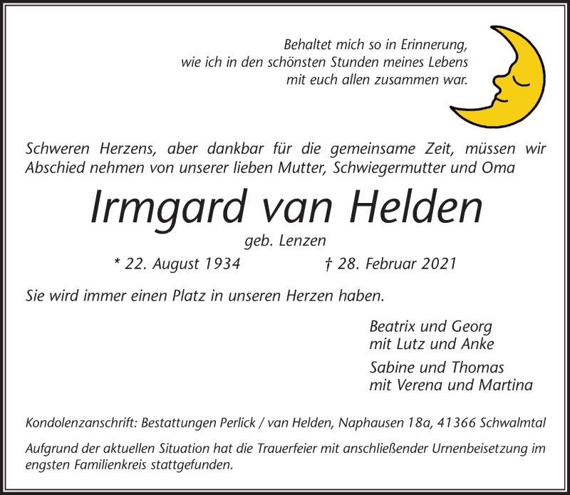 Traueranzeige für Irmgard van Helden vom 10.03.2021 aus Rheinische Post