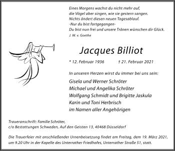 Traueranzeige von Jacques Billiot von Rheinische Post
