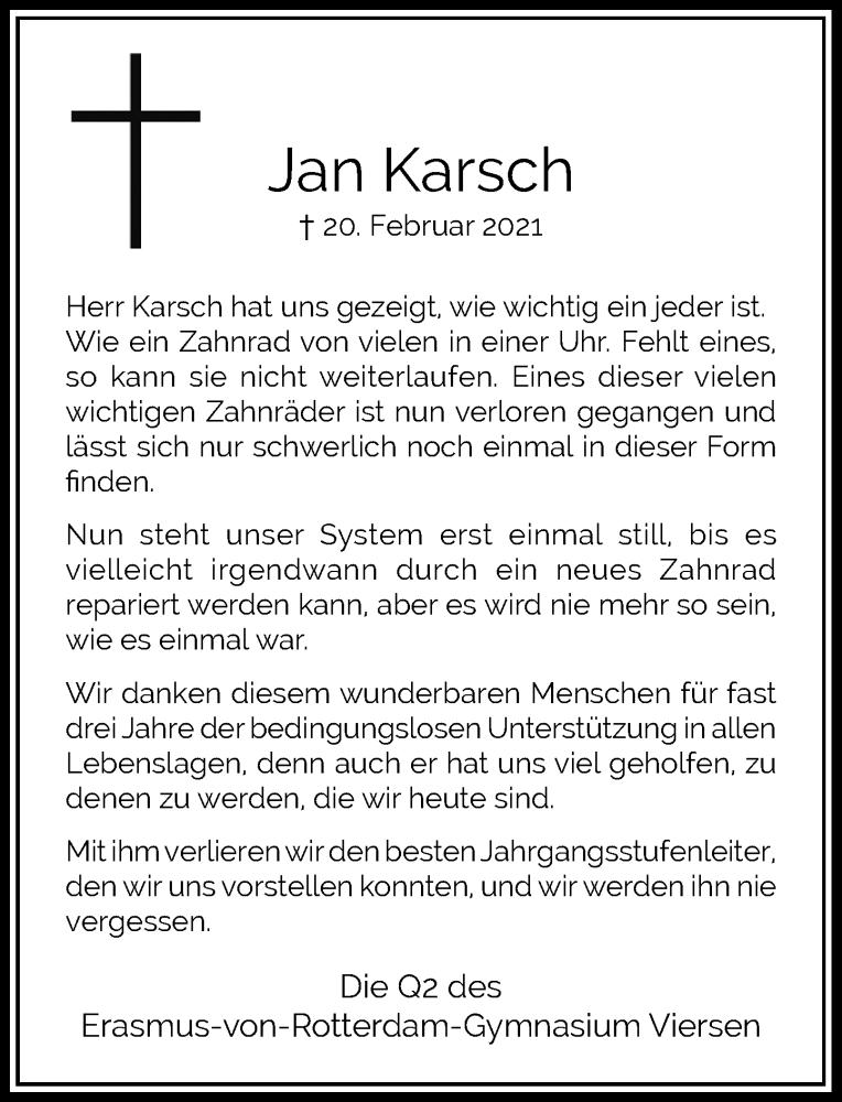 Traueranzeige für Jan Karsch vom 20.03.2021 aus Rheinische Post