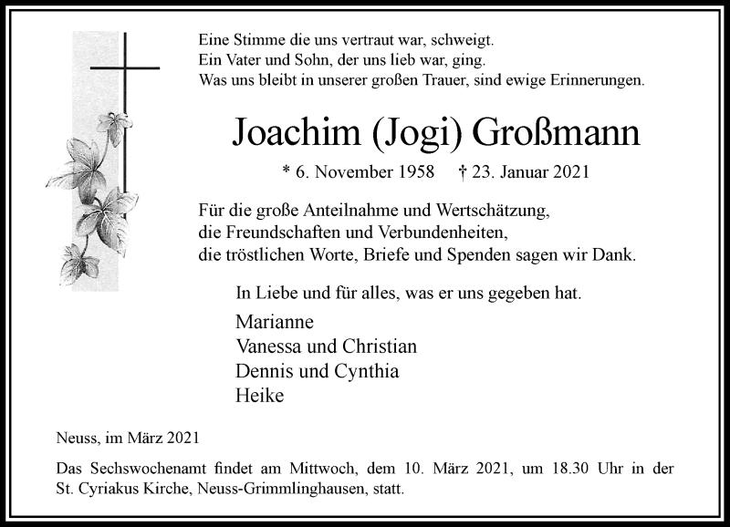 Traueranzeige für Joachim Großmann vom 06.03.2021 aus Rheinische Post