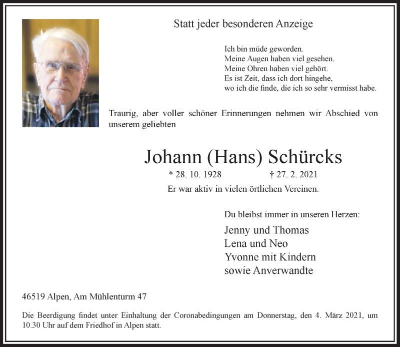 Traueranzeige für Johann Schürcks vom 02.03.2021 aus Rheinische Post