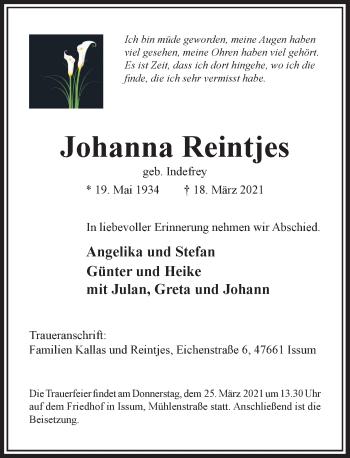 Traueranzeige von Johanna Reintjes von Rheinische Post