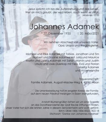 Traueranzeige von Johannes Adamek von Rheinische Post