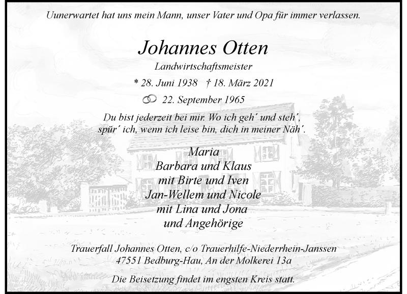 Traueranzeige für Johannes Otten vom 27.03.2021 aus Rheinische Post