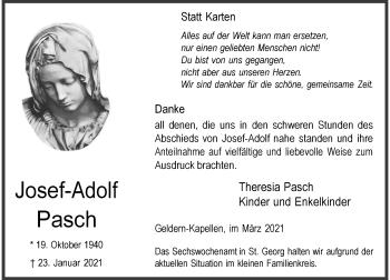 Traueranzeige von Josef-Adolf Pasch von Rheinische Post