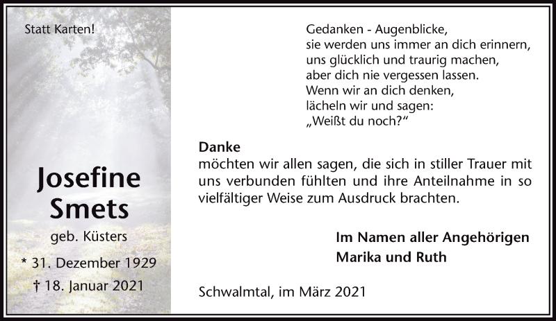 Traueranzeige für Josefine Smets vom 06.03.2021 aus Rheinische Post