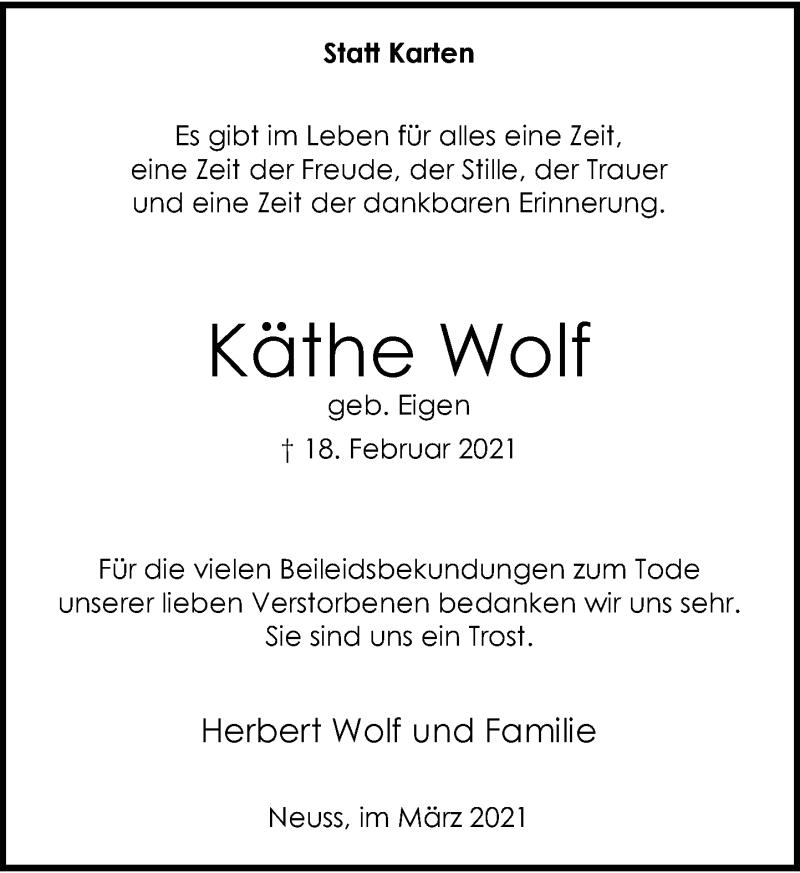 Traueranzeige für Käthe Wolf vom 20.03.2021 aus Rheinische Post