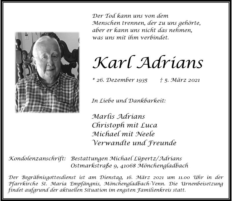 Traueranzeige für Karl Adrians vom 13.03.2021 aus Rheinische Post