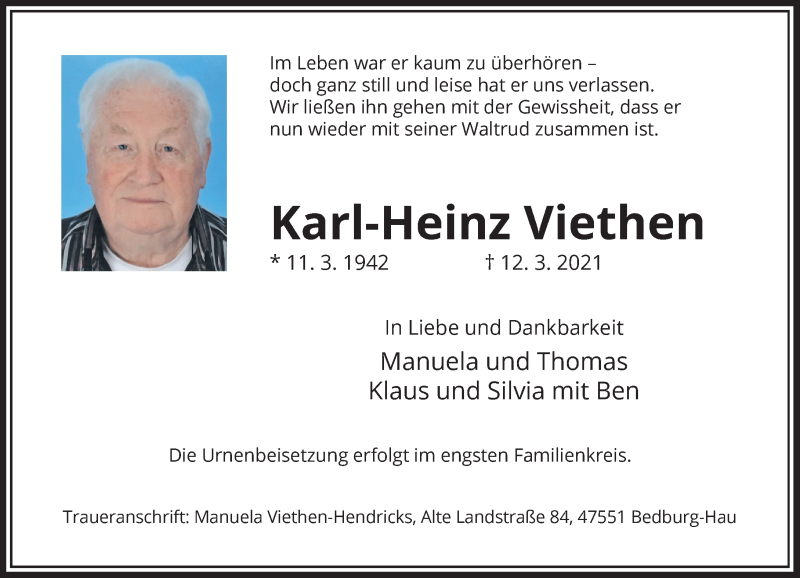 Traueranzeige für Karl-Heinz Viethen vom 20.03.2021 aus Rheinische Post