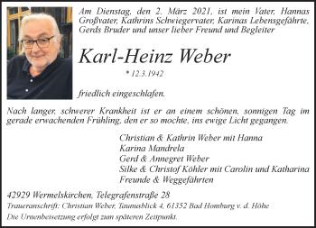 Traueranzeige von Karl-Heinz Weber von Rheinische Post