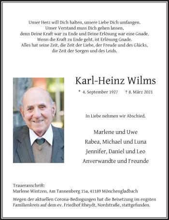 Traueranzeige von Karl-Heinz Wilms von Rheinische Post