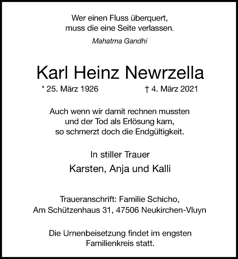 Traueranzeige für Karl Heinz Newrzella vom 06.03.2021 aus Rheinische Post