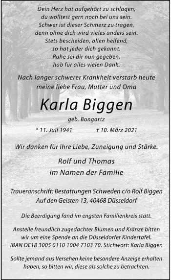 Traueranzeige von Karla Biggen von Rheinische Post
