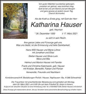 Traueranzeige von Katharina Hauser von Rheinische Post