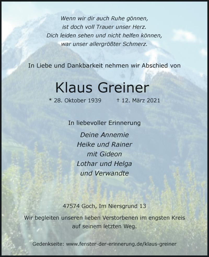 Traueranzeige für Klaus Greiner vom 17.03.2021 aus Rheinische Post
